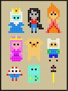 Adventure Time perler bead patterns designed by Rosealine Black Mais Perler Bead Templates, Pearler Bead Patterns, Diy Perler Beads, Perler Patterns, Beaded Cross Stitch, Cross Stitch Embroidery, Cross Stitch Patterns, Cross Stitching, Art Minecraft