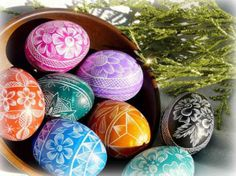 easter egg decorations with floral designs and geometric patterns