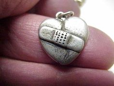 VINTAGE Sterling Silver BROKEN HEART Charm with BANDAID