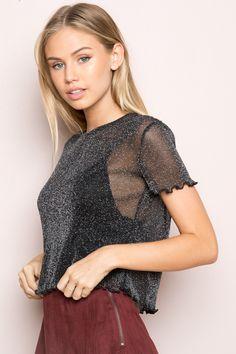 Brandy ♥ Melville |  Porter Glitter Top - Tops - Clothing