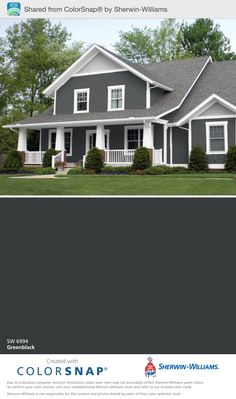 2 tone in front of garage gable White Exterior Houses, Exterior Paint Colors For House, Grey Exterior, Paint Colors For Home, Exterior Colors, Basement Wall Colors, Outside Paint, Pintura Exterior, Shingle Colors