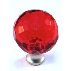 Cal Crystal Crystal Knob Finish: Satin Nickel, Color: Red