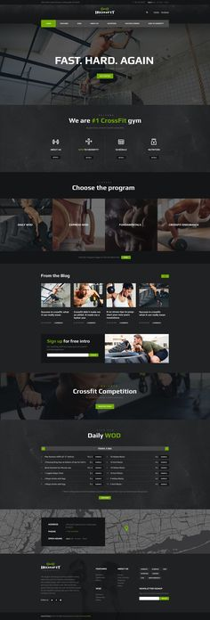 Ironfit has modern and functional design created for Fitness Industry website. The Theme is perfectly suitable for Gyms, CrossFit boxes, Fitness Clubs, Personal Trainers, Health Centers and other s 211669251217710398 Fitness Design, Gym Design, Page Design, Sport Design, Design Ideas, Design Layouts, Website Design Inspiration, Fitness Inspiration, Template Web