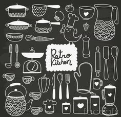 Hand drawn kitchenware in blackboard style Free Vector Chalkboard Vector, Chalkboard Designs, Chalkboard Art, Chalk Lettering, Doodle Lettering, Lettering Design, Blackboard Drawing, Painted Branches, Kitchen Drawing