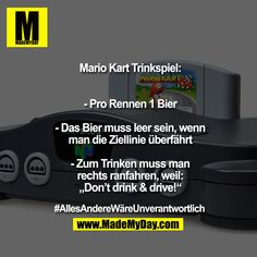 Mario Kart Drinking Game: - 1 beer per race - The beer must be empty if . - Mario Kart Drinking Game: – 1 beer per race – The beer must be empty when you cross the finish - Mario Kart, Drinking Games, Finish Line, Want To Lose Weight, Funny Games, Anime Manga, Funny Quotes, Game 1, Gin Bar
