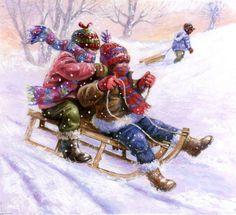 Jim Mitchell - card 58 b darker. Christmas Artwork, Christmas Card Crafts, Christmas Drawing, Vintage Christmas Cards, Christmas Scenes, Christmas Past, Christmas Pictures, Winter Christmas, Winter Images