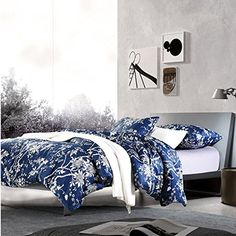 eastern floral chinoiserie blossom print duvet quilt cover navy blue tan white asian style botanical tree