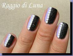 Raggio di Luna Nails: White square studs on black amp; light purple