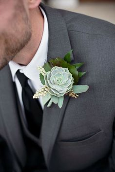 Succulent Boutonniere for the Groom