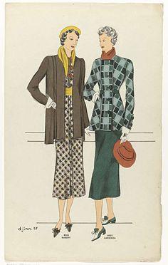 Anonymous | Djinn 1937, No. 8002 Karemy en No. 8003 Cariciosa, Anonymous, 1937 | Twee verschillende ensembles, genaamd Karemy (8002) en Cariciosa (8003). 8002: bruine jas op een geruite jurk in bruin/geel/rood. Gele hoed en sjaal. Bruine schoenen met strikken. 8003: Geruite jas in groentinten, met overslag, gesloten met vijf grote knopen. Bij de manchetten twee idem knopen. Donkergroene rok. Rode sjaal en hoed. Tweekleurige schoenen met hakken en strikken. Verso: twee   ensembles, genaamd…