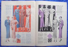 vintage Woman's World FASHION BOOK catalogue of sewing patterns from Summer 1934   eBay