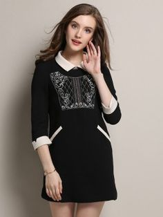 Shop Black Embroidery 3/4 Sleeve Dress from choies.com .Free shipping Worldwide.$41.39