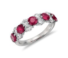 Garland Ruby and Diamond Ring in Platinum