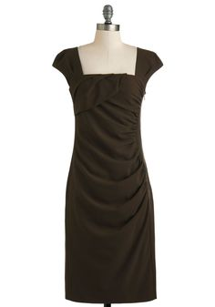 Chocolate for a Very Important Date Dress - Long, Brown, Solid, Ruching, Cocktail, Sheath / Shift, Cap Sleeves, Work, Holiday Sale