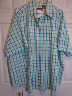 Women's Company One NEW with tags Size 3X shirt Cotton Teal, lime, white check #CompanyONe #Blouse #Casual