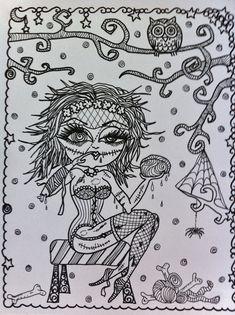 Zombie Girl Halloween  Coloring Page Fantasy Fantasie фэнтези fantasia fantasi colouring adult detailed advanced printable Zentangle Kleuren voor volwassenen coloriage pour adulte anti-stress kleurplaat voor volwassenen Line Art Black and White https://www.etsy.com/shop/ChubbyMermaid