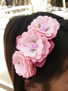 Lovely pink felt flower headband
