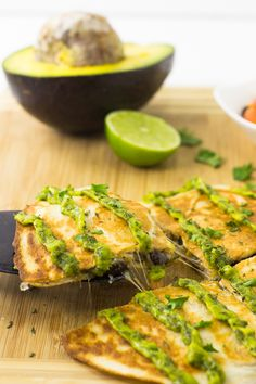 These Mexican Quesadillas with Avocado Cilantro Cream Sauce are a quick, easy and delicious weeknight meal that's creamy, crispy and tasty!