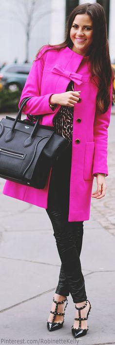Celine Mini Luggage Tote Street Style | Pink Peonies