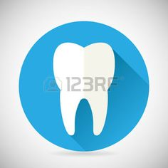 graphic design: Stomatology and Dental Treatment Symbol Tooth Icon with long shadow on Stylish Background Modern Flat Design Vector Illustration