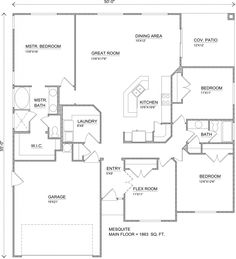 The Mesquite Is A 4 Bedroom, 2 Bath New Home Built By Perry Homes Southern  · Home Design Floor PlansHouse ...