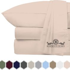 Bluemoon Homes 800 Thread Count Egyptian Cotton Sheets - Extra Long-Staple Cotton King Sheets, Fits Mattress Upto Deep Pocket, Sateen Weave, Soft Cotton Bed Sheets Set(King, Blush) King Sheets, King Sheet Sets, Bed Sheets, Luxury Sheets, Egyptian Cotton Sheets, White King, Cotton Sheet Sets, Flat Sheets, Pillowcases