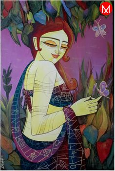 'Celestial Beauty' painting shows a beautiful woman aesthetically dressed in a natural habitat. The woman is surrounded by butterflies that are a huge word on her beauty. She is happy and joyous of about herself and the love she's receiving. The contemporary art sends out the message of the power of a woman's beauty that can be truly celestial. https://www.mivaarts.com/celestial-beauty.html #NoEmptyWalls #HomeDecor #WallPainting #VisualArt #MivaArts