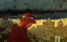 """Judas""(1901) by  Edward Okuń (Polish, 1872-1945)   oil on cardboard, 45 x 70 cm, National Museum, Warsaw."