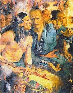 Chief Bluejacket(Shawnee) speaking to Chief Tarhe(Huron/Wyandot) at the Treaty of Greenville, 1795