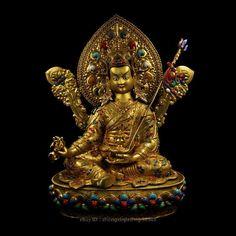Asian Antiques Analytical Rare Tibet Buddhism Temple Bronze Gilt Padmasambhava Guru Rinpoche Buddha Statue Wide Selection;