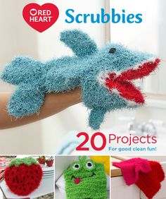 Red Heart Scrubbies: 20 Projects for good clean fun! -- Bring joy to your dishes… Scrubbies Crochet Pattern, Crochet Dishcloths, Knit Or Crochet, Crochet For Kids, Crochet Crafts, Free Crochet, Crochet Hoodie, Crochet Towel, Crochet Pouch
