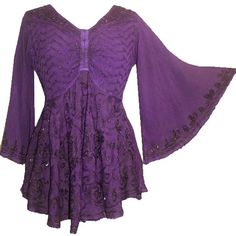 212 B Agan Traders Medieval Butterfly Flair Bell Sleeve Top Blouse ($50) ❤ liked on Polyvore featuring tops, blouses, bell sleeve blouse, purple blouse, flared sleeve top, bell sleeve tops and purple top