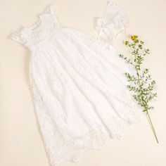 Grace Christening Gown & Bonnet - Baby Beau and Belle Baptism Outfit, Baptism Gown, Baptism Clothes, Girl Baptism, White Lace Romper, Lace Dress, Christening Gowns For Girls, Christening Party, Blessing Dress