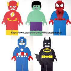 LEGO Superhero Party Decorations or Superhero Bedroom Decor Avengers Birthday, Superhero Birthday Party, Boy Birthday, Birthday Cakes, Birthday Ideas, Superhero Party Decorations, Party Themes, Party Ideas, Spiderman