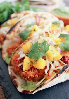 Crispy Fish Tacos with Mango Salsa and Avocado Salsa Verde - Domesticate ME!