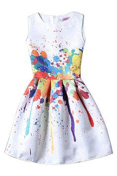 Sleevelss tutú mini vestido de impresión - US$17.95 -YOINS