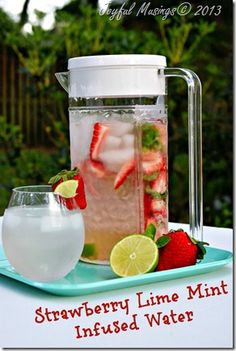 Strawberry Lime Mint Infused Water. Simple Recipe and a great way to stay hydrated as the summer comes!