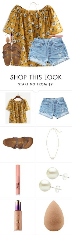 """Untitled #1817"" by southernstruttin ❤ liked on Polyvore featuring Levi's, Birkenstock, Kendra Scott and beautyblender"