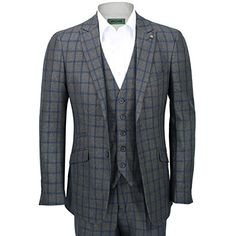Mens-3-Piece-Suit-Tweed-Blue-Grid-Check- 86bdd790517c