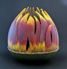 Sunflower  gourd art by Mary Gehley