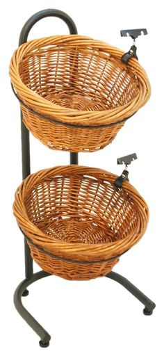 3 Tier Basket Stand, Sign Clips, Wicker - Black