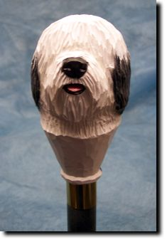 Old English Sheepdog Walking Stick Our unique selection of handpainted Dog Breed Walking Sticks is sure to please the most discriminating Dog Lover! Be the envy of everyone with this unique canine wal Wooden Walking Sticks, Walking Sticks And Canes, Walking Canes, Animals And Pets, Cute Animals, Just Keep Walking, Hiking Staff, Cane Handles, Old English Sheepdog