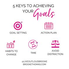 How to set your goals and set yourself up for SUCCESS to ACHIEVE them.  1. Goal setting - Identify and categorize your goals in business, life, and faith.  2. Action Plan - Write down what you need to do for the next 90-days in order to accomplish each goal.  3. Habits to change - What are you going to do differently, how, and why?  4. Time - Prioritize and map out how you will spend your time.  5. Avoid distractions - Recognize your distractions and develop strategies for how to avoid them.