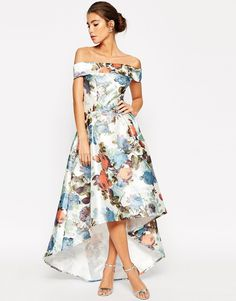 Image 4 of Chi Chi London Premium Bandeau High Low Maxi Dress In Garden Floral Print