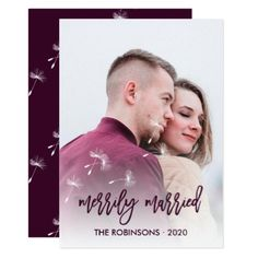 Merrily Married dandelion Christmas and New Year Card - wedding invitations cards custom invitation card design marriage party Photo Wedding Invitations, Save The Date Invitations, Wedding Invitation Wording, Elegant Wedding Invitations, Save The Date Cards, Custom Invitations, Invitation Card Design, Wedding Cards, Wedding Gifts