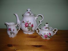 old moss rose pattern dishes | Moss Rose China Teapot with Creamer and Sugar Vintage
