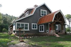 Barn Home Great Plains Gambrel Barn Home project by Sand Creek Post & Beam. View this gallery for ideas on your next dream barn. Metal Building Homes, Building A House, Building Design, Future House, Gambrel Barn, Gambrel Roof, Cabana, Barndominium Floor Plans, Barn House Plans