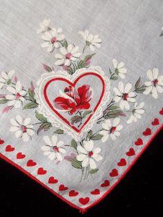 Vintage Novelty St Valentines Day Hankie Hearts & Roses Print Handkerchief 998 #Holiday