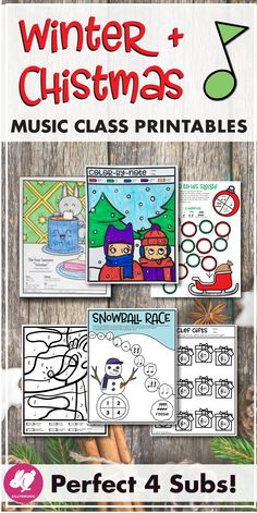 Winter and Christmas activities for the general/elementary music class that are great for lessons that could use a supplementary review activity or perfect for non-singing sub plans. I also use them during the chaos of winter concert season. Kids love the color by note, spinner board games, and listening glyphs. 60 pages of games and coloring!
