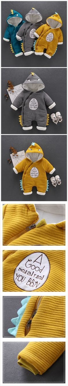 2-Color Thicker Baby Unisex Dinosaur Hooded Jumpsuit For Winter